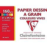 Clairefontaine 96779C Etival Color pochette 12F 21x29,7cm 160g à grain Assortiment Vif