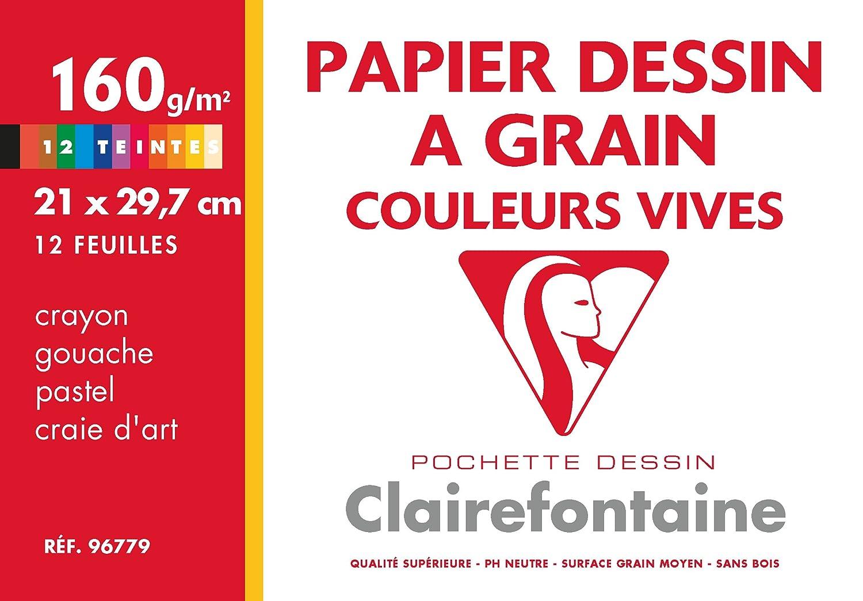 Clairefontaine 96779C Etival Color pochette 12F 21x29,7cm 160g à grain Assortiment Vif 7cm 160g à grain Assortiment Vif
