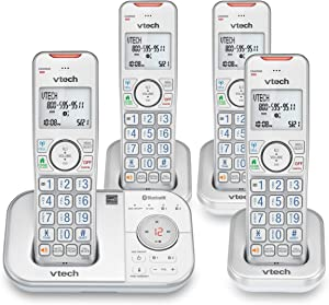VTECH VS112-47 DECT 6.0 Bluetooth 4 Handset Cordless Phone for Home with Answering Machine, Call Blocking, Caller ID, Intercom and Connect to Cell (Silver & White) (Renewed)