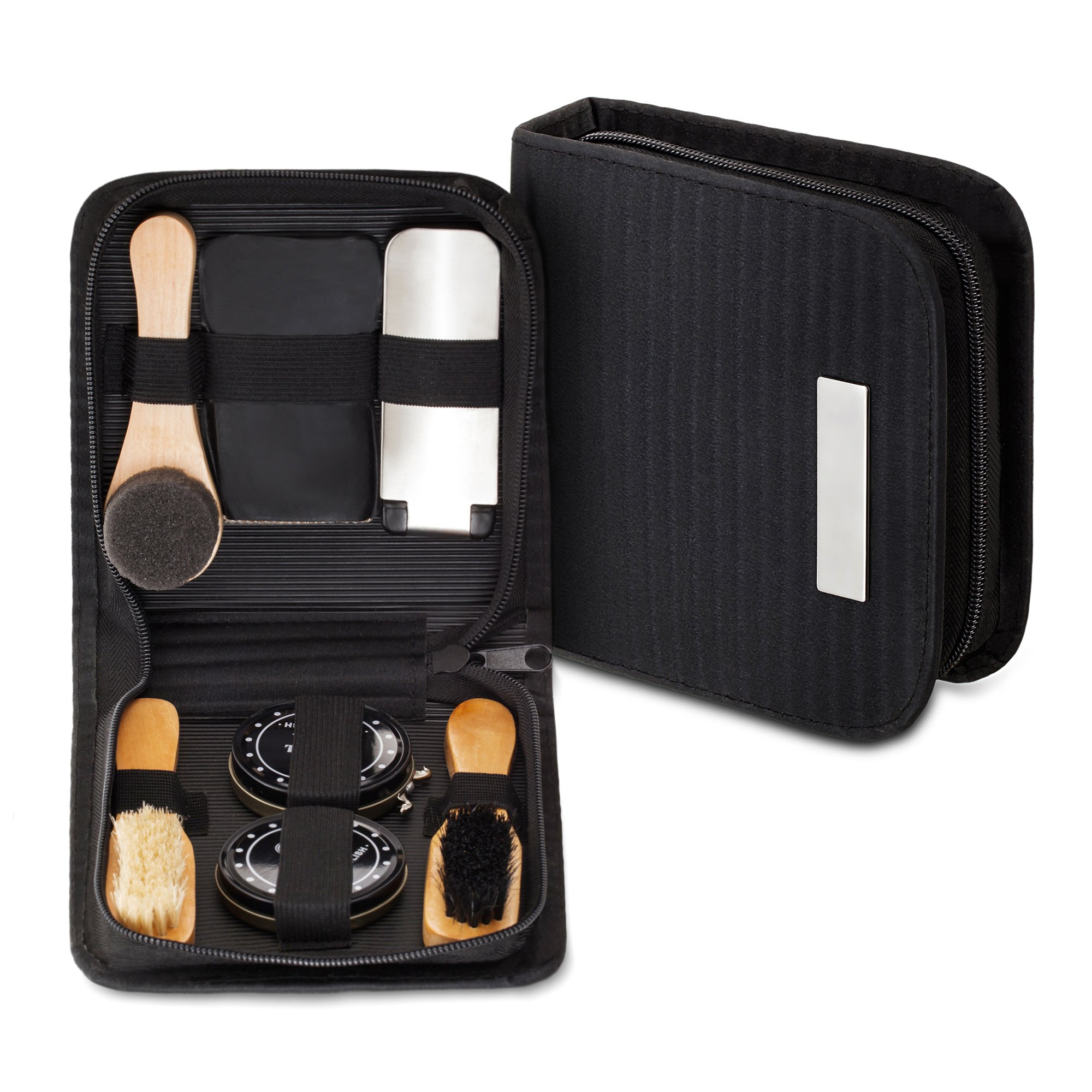chuanyuekeji Shoe Shine Kit & Shoe Care Valet with PU Leather Sleek Elegant Case, 7-Piece Travel Shoe Shine Brush kit (Black) by chuanyuekeji (Image #2)