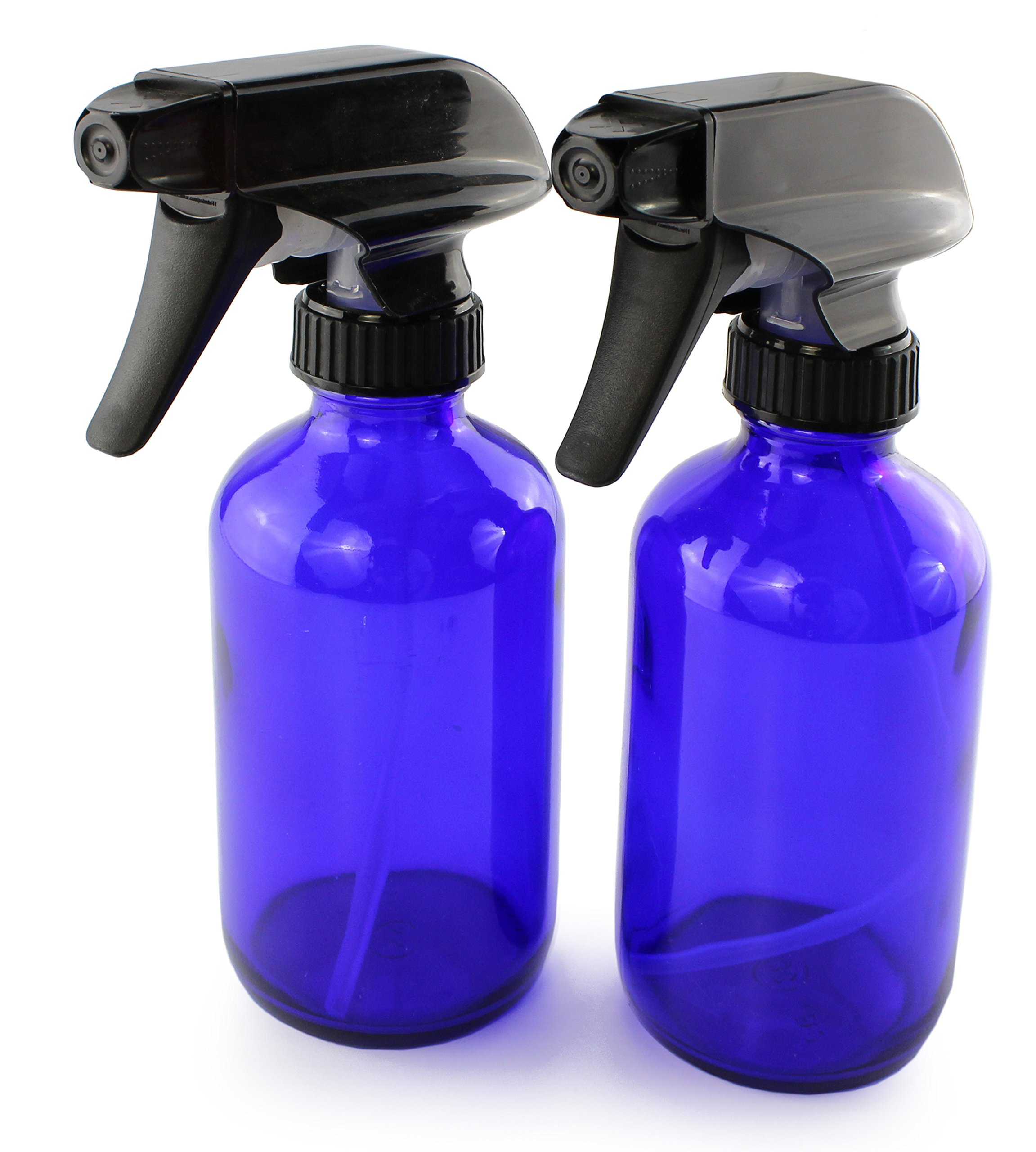 8-Ounce Cobalt Blue Glass Boston Round Spray Bottles (2 Pack) 3-Setting Heavy Duty Sprayers, Empty Refillable Bottle for Essential Oil Blends, DIY Cleaning & More