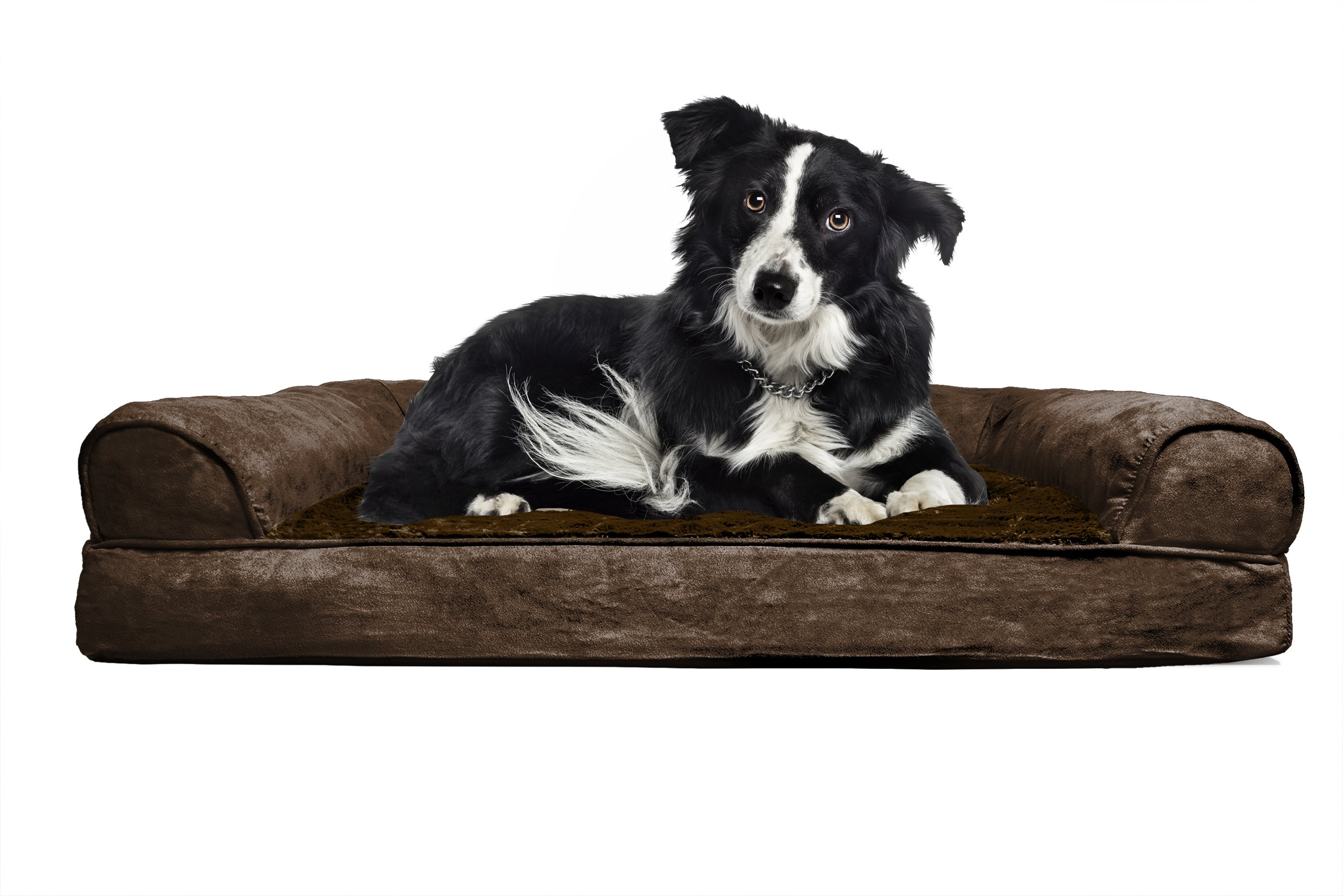 Furhaven Large Plush Suede Orthopedic Sofa Pet Bed For Dogs And Cats