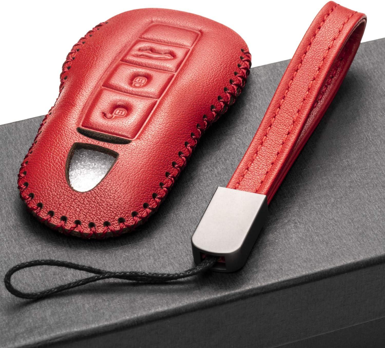 Porsche Panamera 3-Button, Brown Porsche 911 Vitodeco Genuine Leather Smart Key Fob Remote Case with Leather Key Chain for Porsche 718 Porsche Cayenne