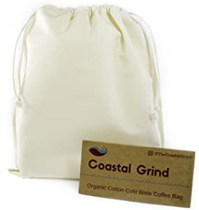 Coastal Grind Cold Brew Coffee Bag - Natural, Reusable, Organic Cotton Filter for Convenient Iced & Hot Coffee at Home