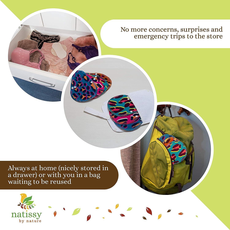 NO para menstruaci/ón Salvaslips de tela reutilizables TANGA Toallas para uso diario y flujo blanco Compresas Ecol/ógicas sin PUL 7-Pack Protege Slips de algod/ón ORG/ÁNICO alas negras HECHAS EN LA UE