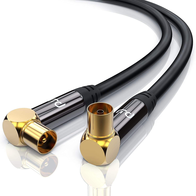 0,5m Cable de Antena HQ HDTV Premium - En ángulo 90 Grado - Factor de blindaje 135 dB - Resistencia 75 ohmios - coaxial HDTV Full HD - Clavija Macho en Acoplamiento - Carcasa metálica - Negro