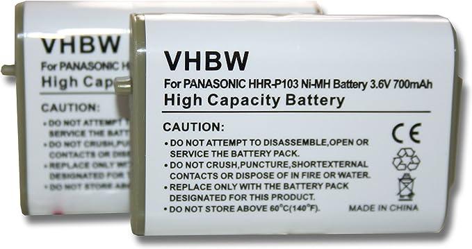 Set de 2 baterías vhbw 700mAh para teléfonos fijos inalámbricos Panasonic KX-TGA271A, KX-TGA271W, KX-TGA271B, KX-TGA272S, KX-TGA271, KX-TGA272: Amazon.es: Electrónica
