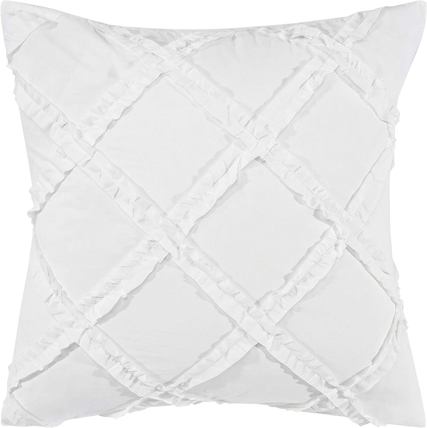 Laura Ashley Home | Adelina Bedding Collection | Premium Quality Pillow Sham, Decorative Pillow Case for Bedroom Living Room and Home Décor, 26x26, White