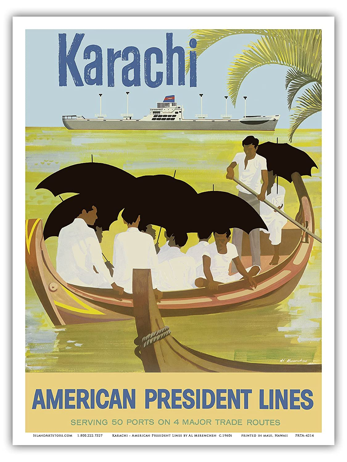 Vintage World Travel Poster by Al Merenchen c.1959 Boat Pakistan 9in x 12in American President Lines Master Art Print Karachi