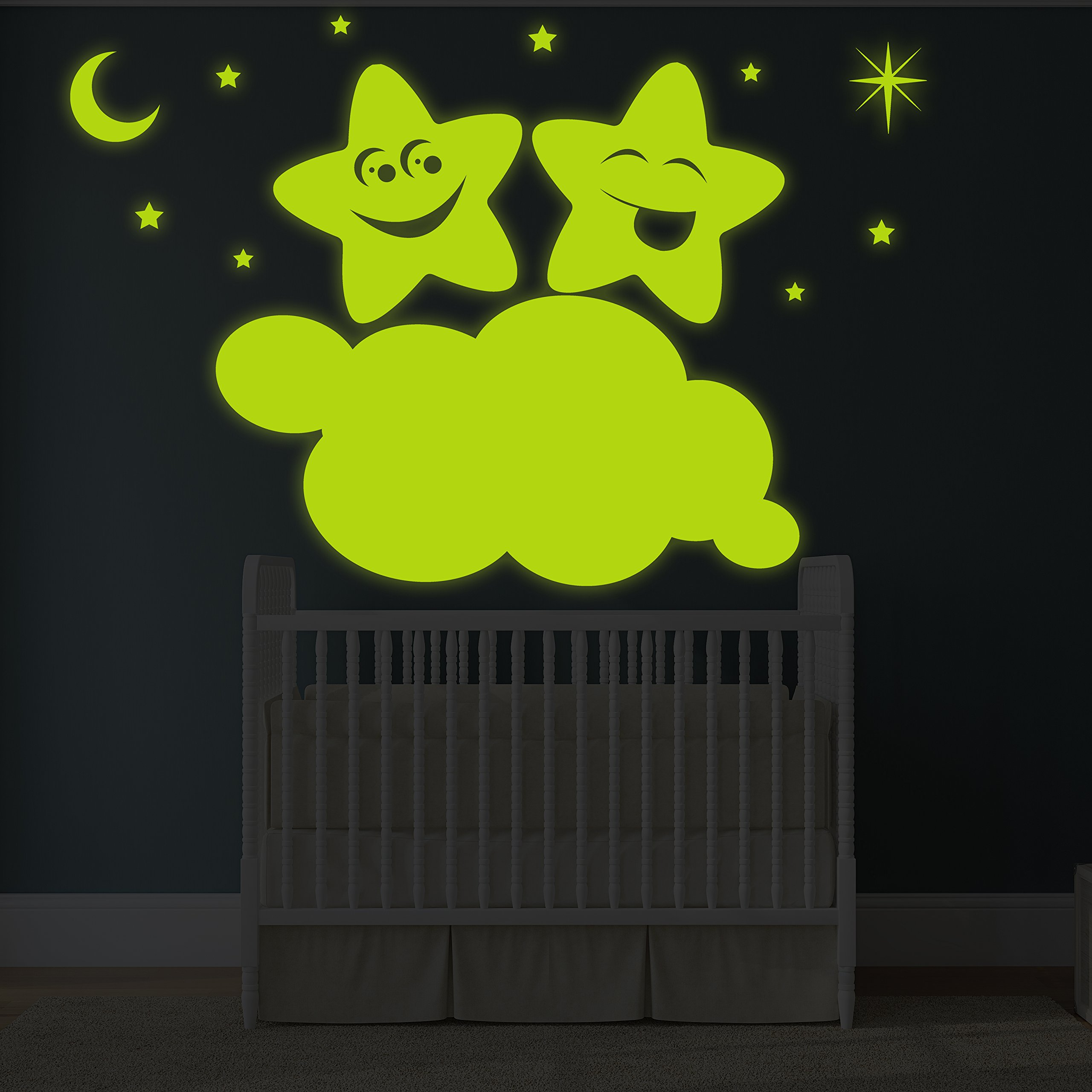 ( 71'' x 47'' ) Glowing Vinyl Wall Decal Twin Stars on Cloud / Glow in the Dark Sticker / Happy Star Luminescent Mural Kids, Baby Room + Free Decal Gift!