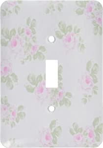 3dRose lsp_120173_1 Vintage Pink Roses Pattern Rose Flowers on Light Cream Damask Shabby Chic Sun-Faded Look Floral Light Switch Cover