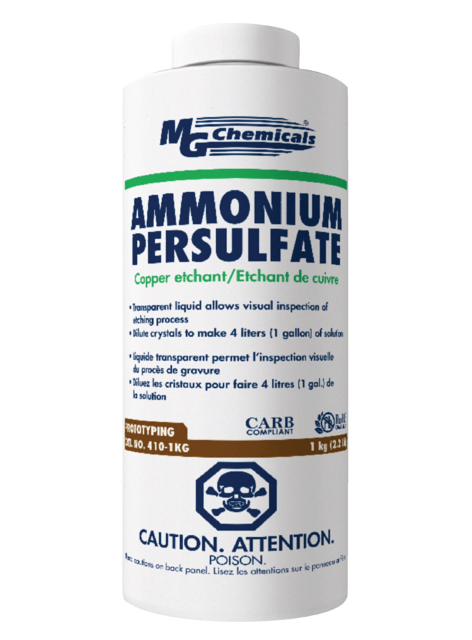 MG Chemicals 410-1KG Ammonium Persulphate Copper Etchant, 1 Kg Solid Crystals Bottle
