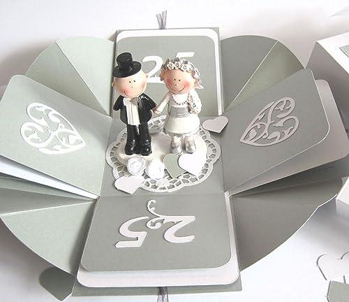 Geldgeschenk Geschenkschachtel Geschenkverpackung Geschenk Zur Silberhochzeit Silberne Hochzeit Explosionsbox Handgefertigt Geschenkbox Gutschein