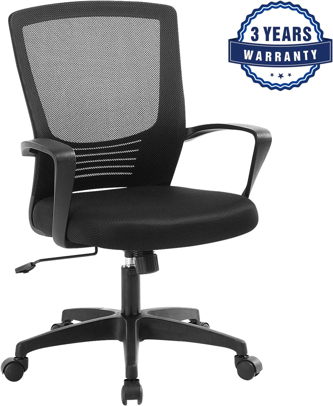 Office Desk Chair, Mid-Back Task Mesh Chair with armrest, Executive Drafting Chair for Home and Office, Ergonomic Swivel Chair for Computer Game, Black