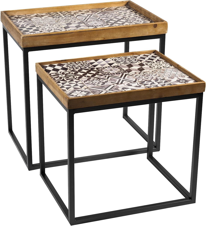 meublea Juego de 3 mesas de Simon, Pin, Negro, 43 x 63 x 61 cm: Amazon.es: Hogar