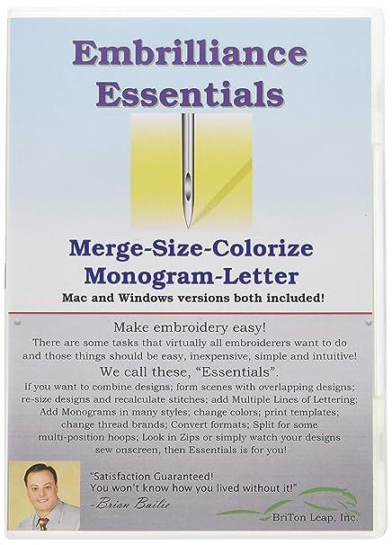 Amazon Embrilliance Essentials Embroidery Machine Software