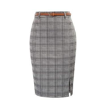 Splento Faldas de Rejilla para Mujer Casual Lade Cinturón Falda a ...