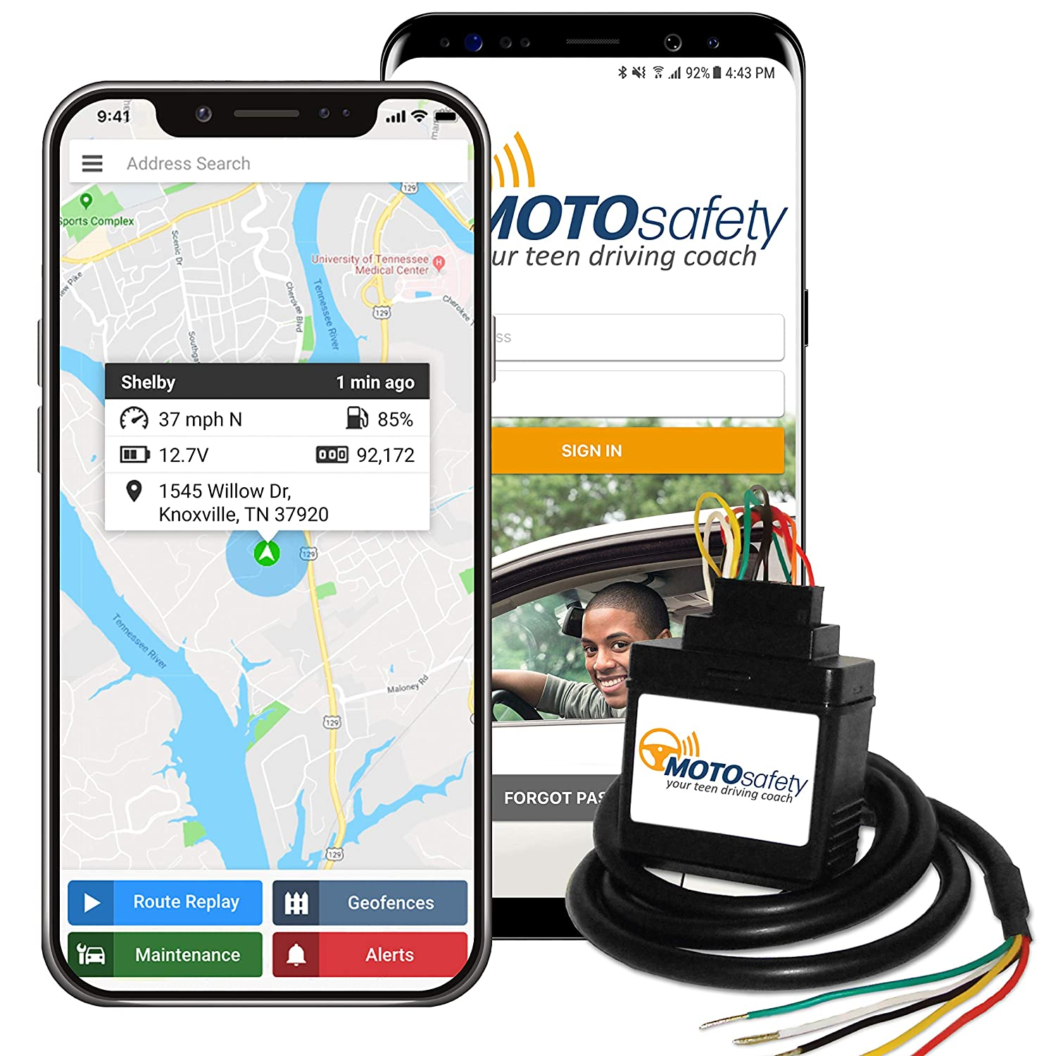 Vehicle Tracker and Tracking Device Agilis Systems MotoSafety Mwaas1P1 Wired 3G GPS Car Tracker with One Month of Service