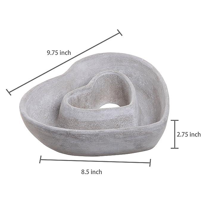 MyGift Cut Out diseño en forma de corazón gris al aire libre de cemento Plant maceta de flores maceta/decorativa centro de mesa cuenco: Amazon.es: Jardín