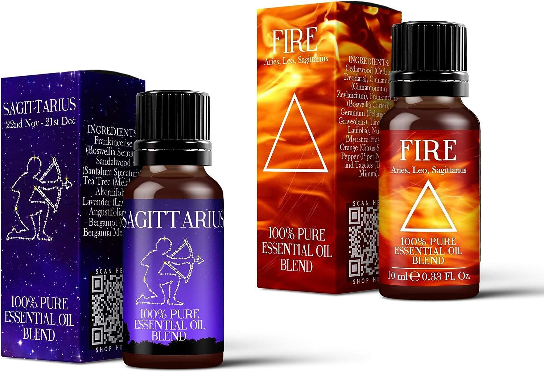 Mystic momentos   fuego elemento y símbolo del signo Sagitario Astrología mezcla de aceites esenciales, 2 unidades (2 x 10 ml): Amazon.es: Hogar