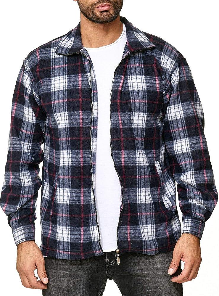 ArizonaShopping Egomaxx Chaqueta de transición de vellón para Hombre Camisa de leñador con Aspecto de Franela a Cuadros, Color:Negro-Rojo, Talla de Chaqueta:M: Amazon.es: Ropa y accesorios