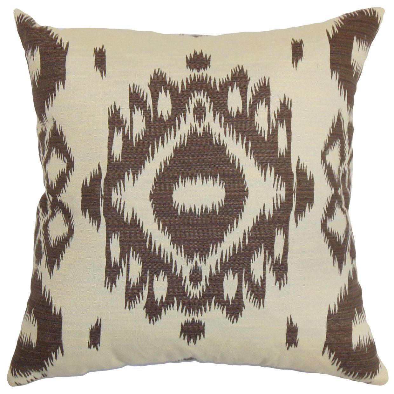 The Pillow Collection Gaera Ikat Bedding Sham Chocolate King/20' x 36'