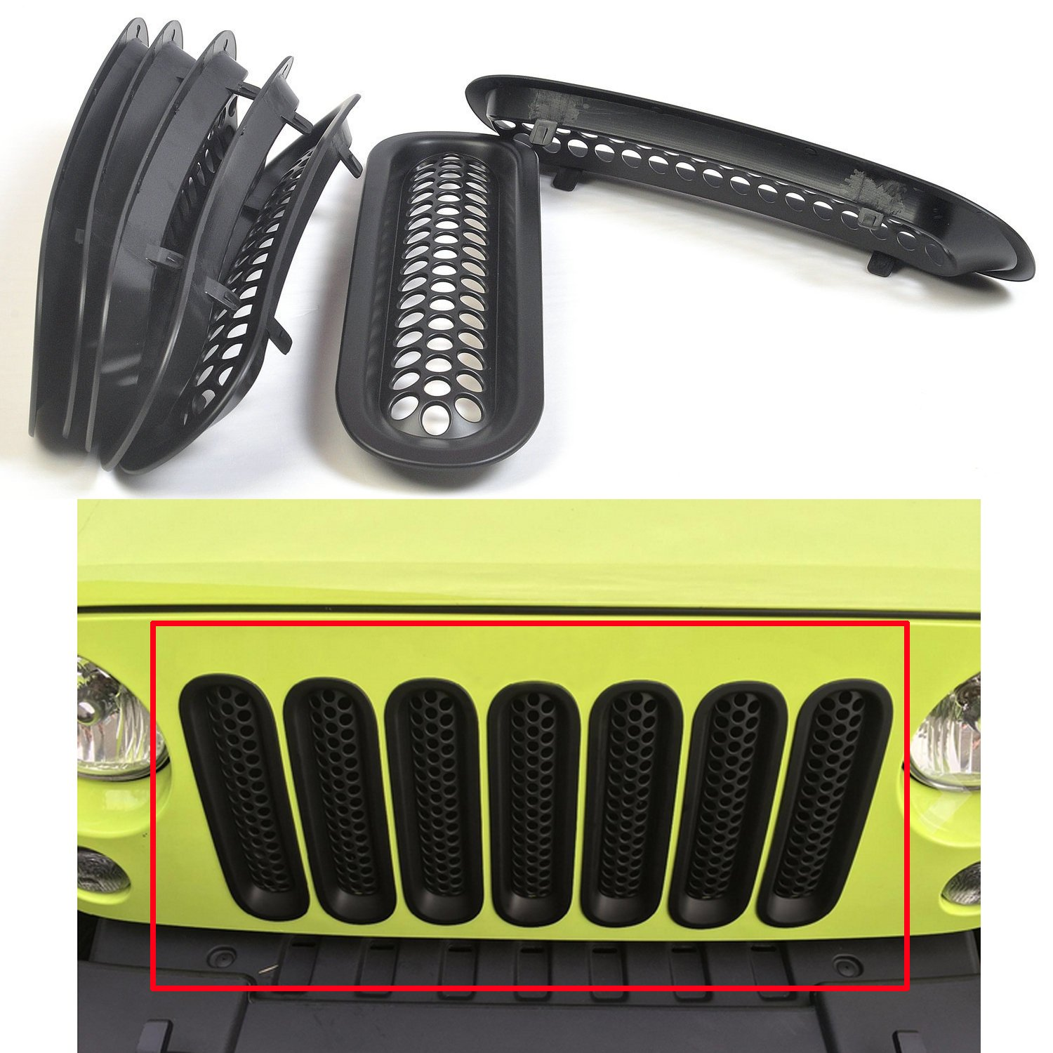 MOEBULB Upgrade Clip in Version Mesh Front Grill Insert Grille Cover Trim for 2007-2015 Jeep Wrangler JK 2-Door & 4-Door (with Key Hole, Matte Black) MOE-BULB