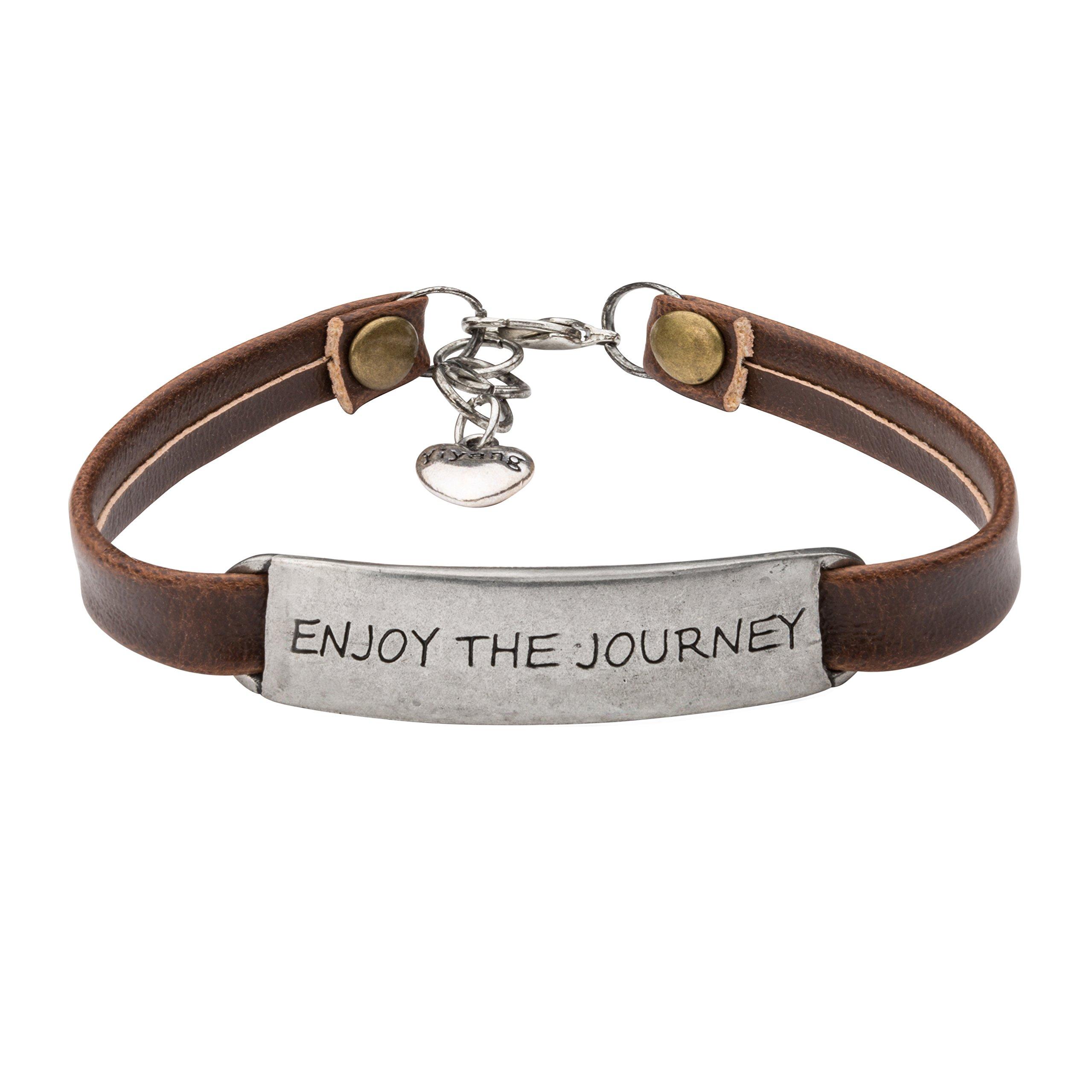 Graduational Gift Leather Bracelet Travel Saying Engraved Senier Jewellery Enjoy the Journey