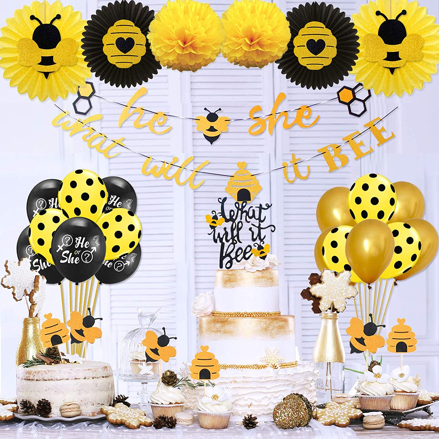 What Will It Bee Gender Reveal Party Supplies Decorations by KeaParty, Bee Baby Shower Decorations, Honey Bee Cupcake Toppers, He or She Balloons, He or She Banner, Tissue Paper Fans, Pom Poms