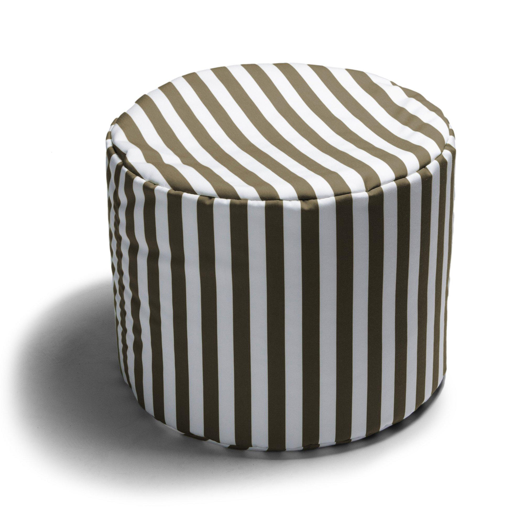 Jaxx Spring Indoor/Outdoor Bean Bag Ottoman, Taupe Stripes