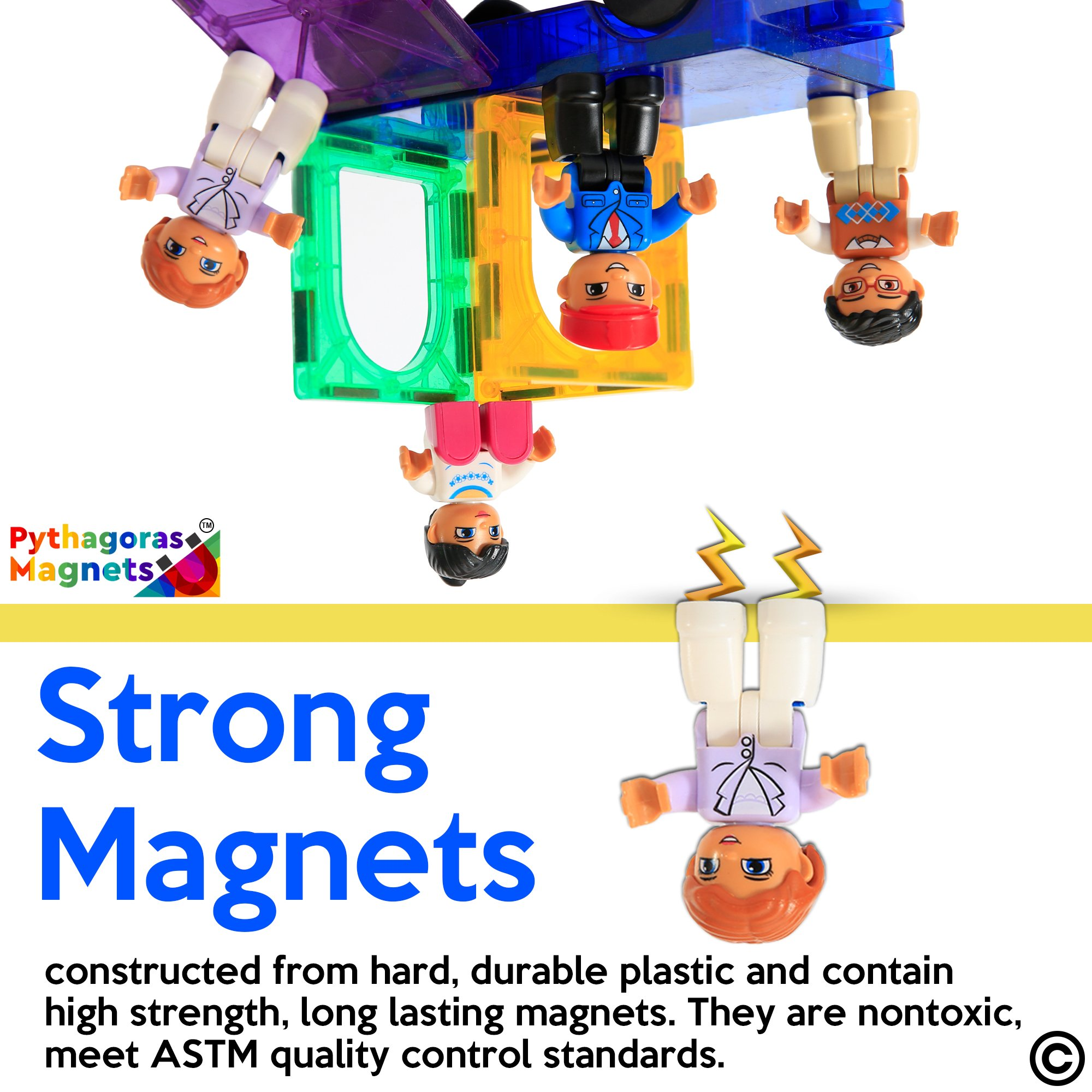 Magnetic Figures Set of 4 - Community Toy People Magnetic Tiles Expansion Pack for Boys and Girls - Pilot, Teacher, Lawyer, Coach Educational STEM Toys Add on Sets for Magnetic Blocks by Pythagoras Magnets (Image #2)