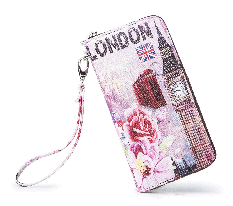 LIKEYOU Women Wallet Zip Around Clutch Card Wallet(LONDON-Flower)