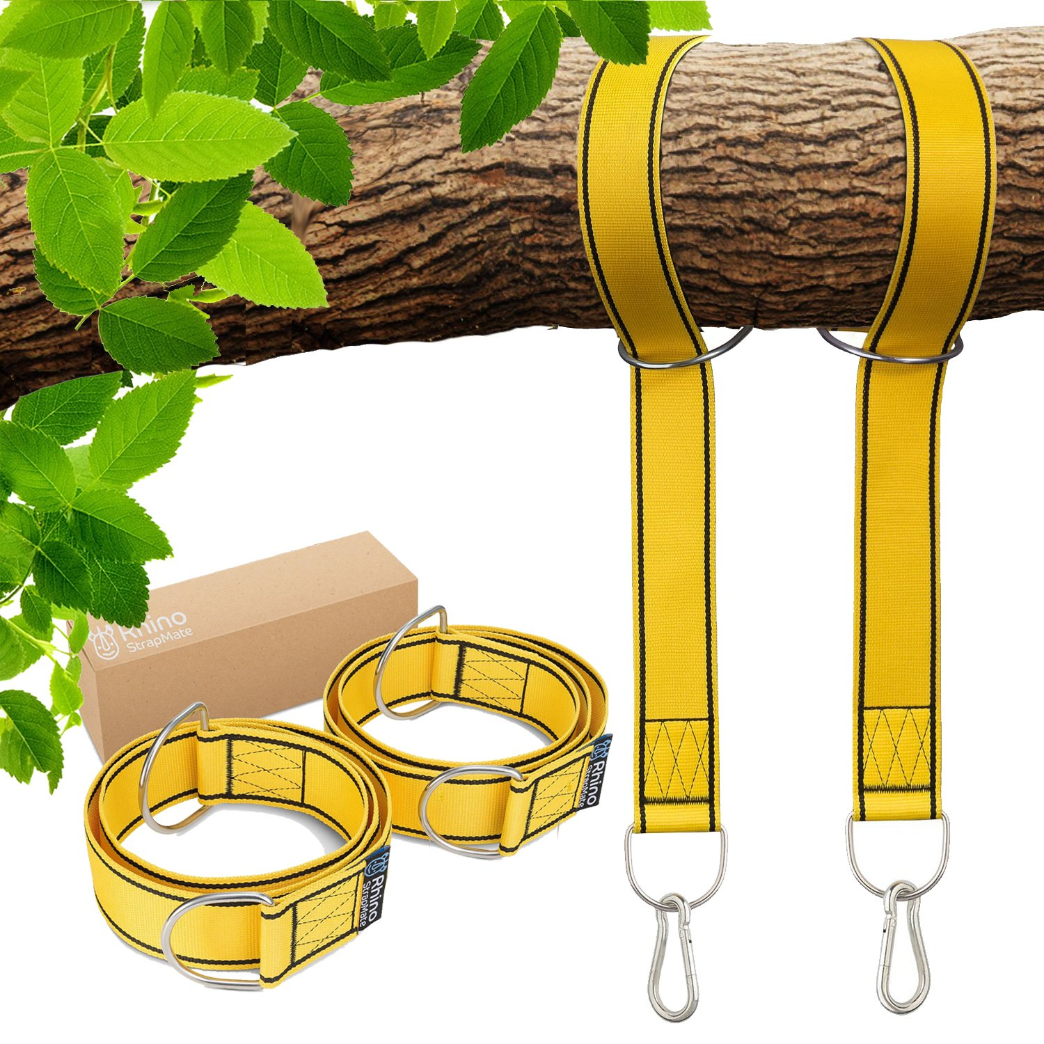 StrapMate Tree & Patio Swing Hanging Kit - Two 4 Foot Straps Holds 2800 lbs (SGS Certified), Free Extra Strong 2 Snap Carabiners - Fast & Easy Way to Hang Any Swing & Hammock - No Tools Needed