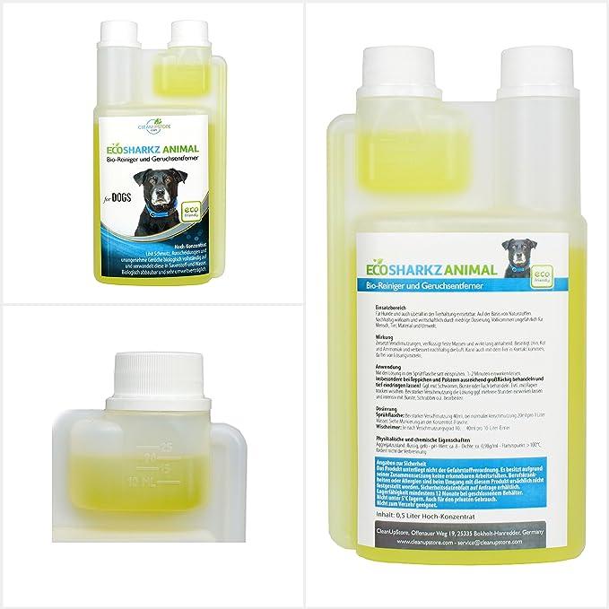 Ecosharkz neutralisant de mauvaises odeurs pour chiens - désodorisant naturel - concentré à haut débit pour éliminer lodeur durine (jusquà 25L de ...