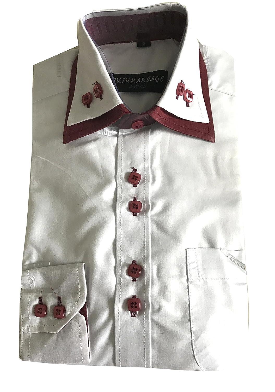 elegant /& festliche Kinderhemd//Bordeaux-WEISS//Hochzeit//Kommunion//Freizeithemd