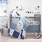Bedtime Originals Roar Dinosaur 3 Piece Crib Bedding Set, Blue/Gray