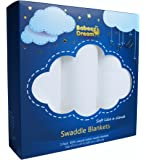 Babeez Dream Cotton Muslin Baby Swaddle Blankets, (3 pack) 47x47 in, Pure White