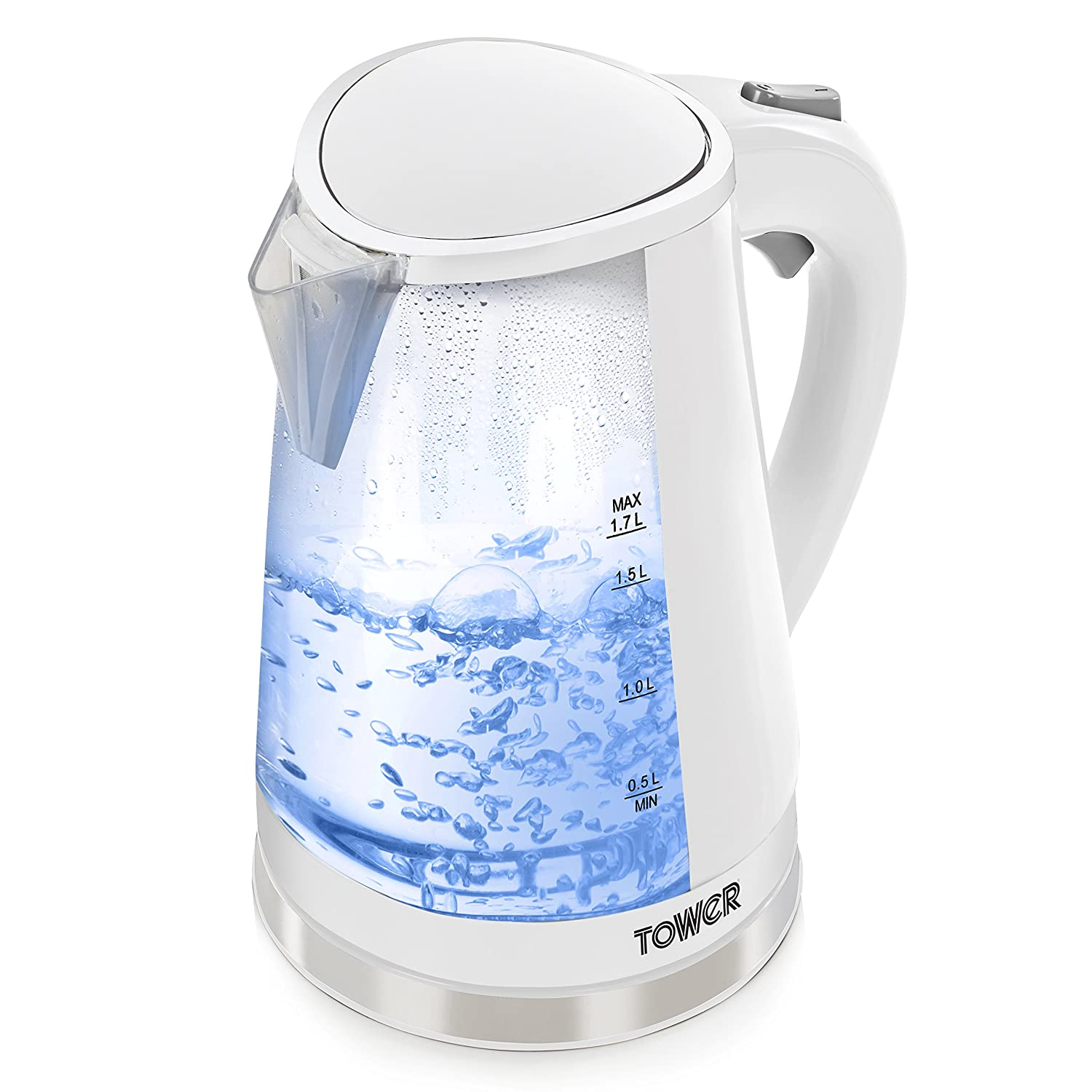 Tower T10012 Colour Changing LED Jug Kettle, 2200 W, 1.7 Litre, Black