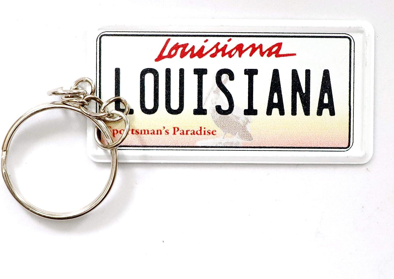 World By Shotglass Louisiana License Plate Aluminum Ultra-Slim Rectangular Souvenir Keychain 2.5 X 1.25x 0.06