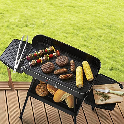 FiNeWaY Stunning Electric Indoor and Outdoor Black Non Stick Stainless Steel BBQ Grill with Stand Powerful Heating Element 2200W- (Electric Grill)