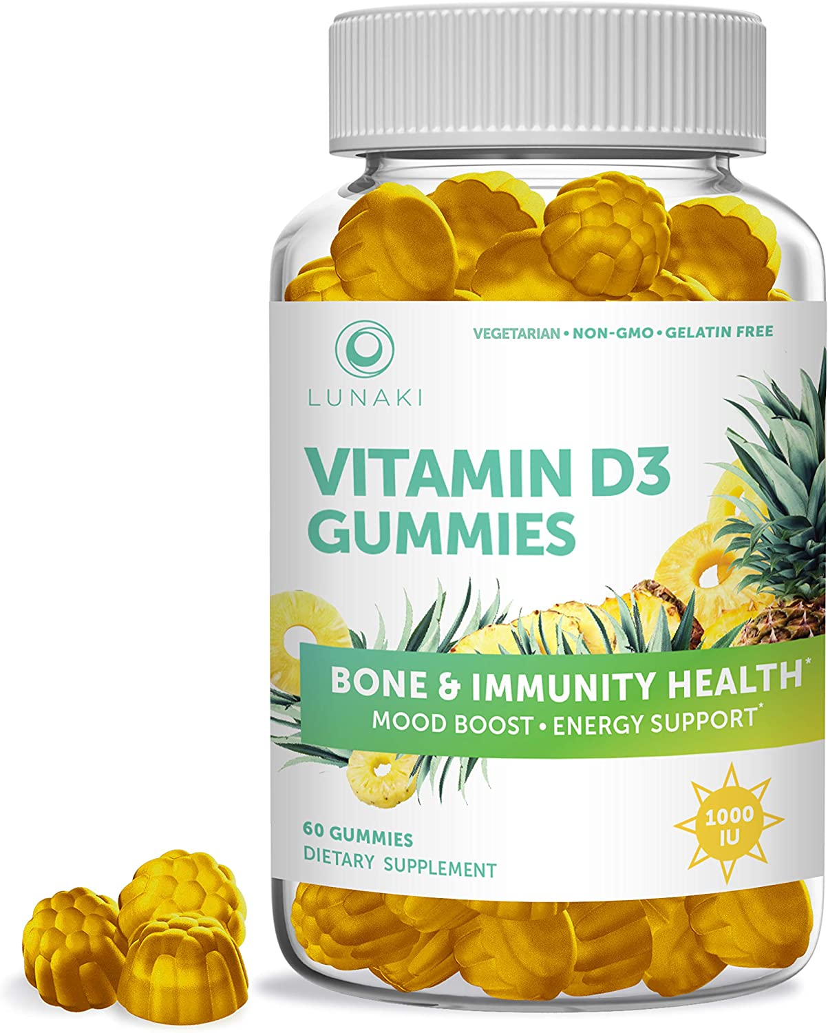 Lunaki Vitamin D D3 Gummies - Chewable, Organic, Non-GMO, No Corn Syrup, Vegaterian, All Natural, Immunity, Bone and Mood Support for Adults - Gummy 60 Day Supply