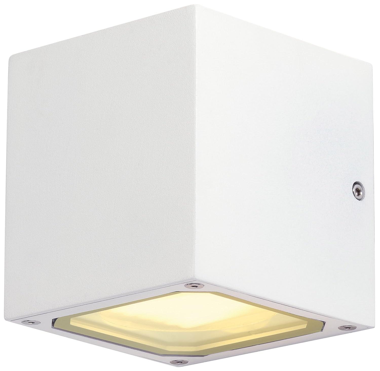 SLV Wandlampe SITRA CUBE für die effektvolle Außenbeleuchtung von Hauseingang, Wänden, Wegen, Terrassen, Fassaden, Treppen | LED Wandleuchte, Aussenleuchte, Gartenlampe | 2x GX53, max. 9W, B - A++ [Energieklasse A] Wänden 232535