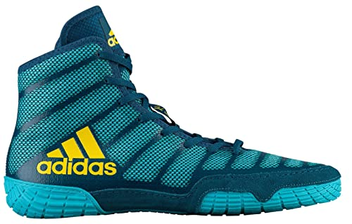 best service b1265 a240e Adidas Adizero Varner Men s Wrestling Shoes, Aqua Yellow Blue Size 4.5