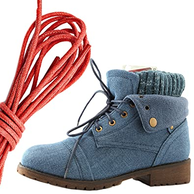 Women's Combat Style Lace Up Sweater Top Ankle Bootie With Pocket for Credit Card Knife Money Wallet Pocket Boots Red