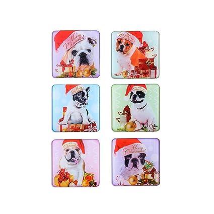 Amazon Com Cute Dog Christmas Magnets 6pcs 3d Pattern Square Law