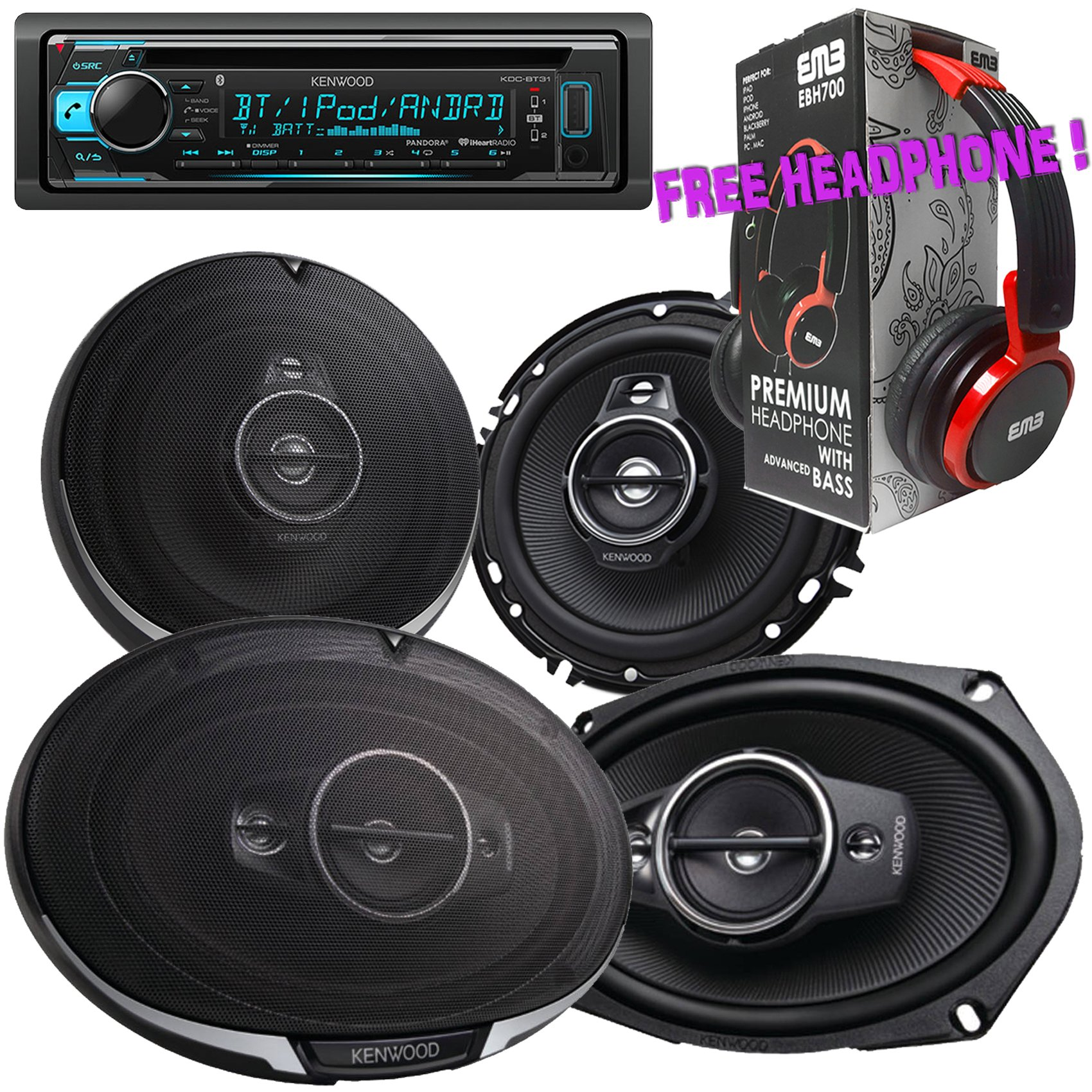 Package - Pair of Kenwood KFC- 6985PS 6''x9'' 600W 4-way + Pair of Kenwood KFC-1695PS 320W 6-1/2'' 3-way Car Speakers + Kenwood KDC-BT31 Single-DIN Bluetooth CD Receiver + Free EBH700 Headphone