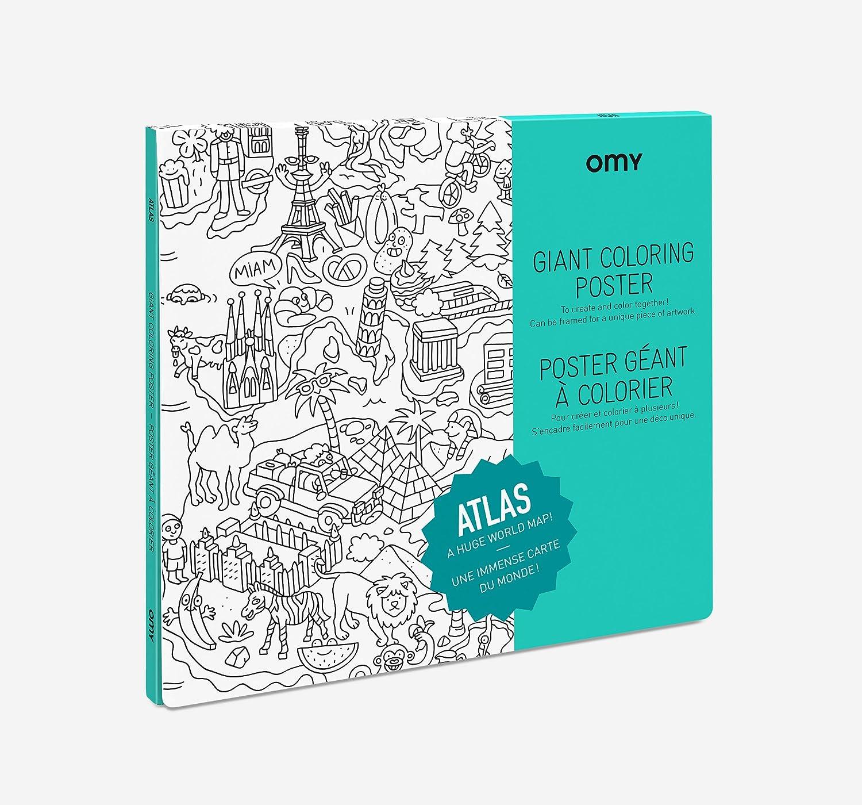 Omy Poster Geant A Colorier De L Atlas Format Encadrable 70 X 100 Cm Ville Et Pays Du Monde Entier Amazon Fr Cuisine Maison