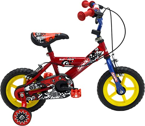 SONIC Kap Pow - Bicicleta para niño, tamaño 12, Color Rojo/Azul ...