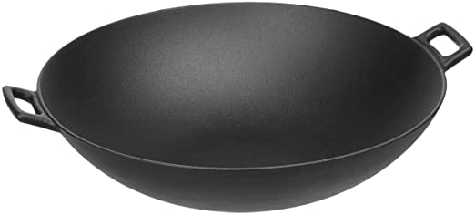 Amazon Basics Pre Seasoned Cast Iron Wok Pan by Amazon Basics