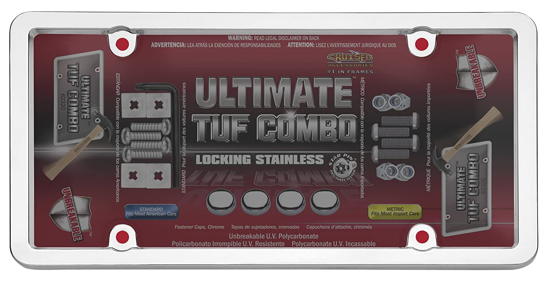 Amazon.com: Cruiser Accessories 62320 Ultimate Tuf Combo License Plate Shield/Cover, Chrome/Smoke: Automotive
